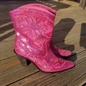Helen's Heart Hot Pink Sequin Bling Boots 7
